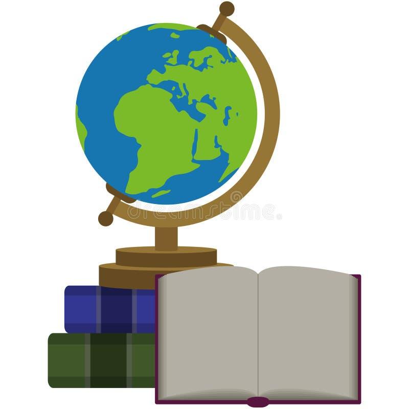 Globe du monde et illustration de livre ouverte illustration de vecteur