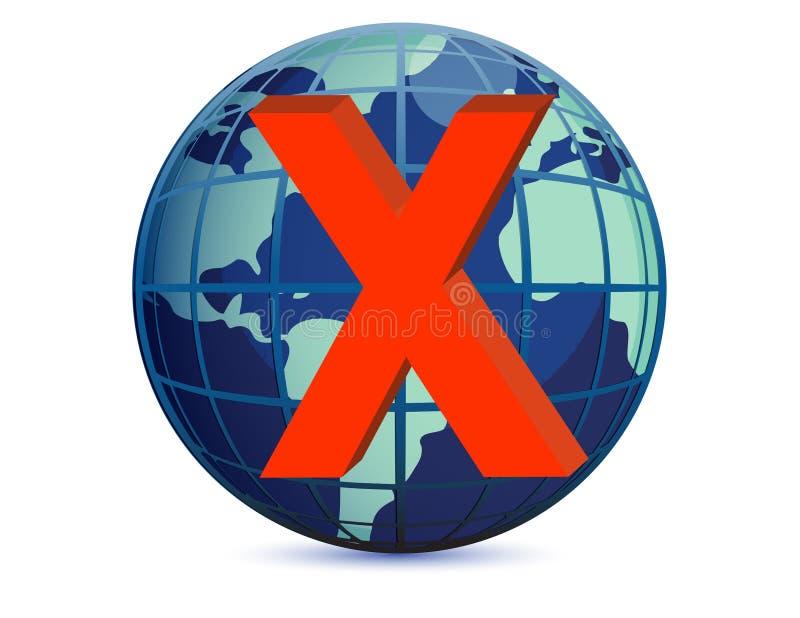 Globe du monde et repère de x illustration de vecteur