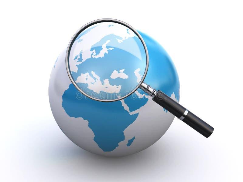 Globe du monde et une loupe illustration libre de droits