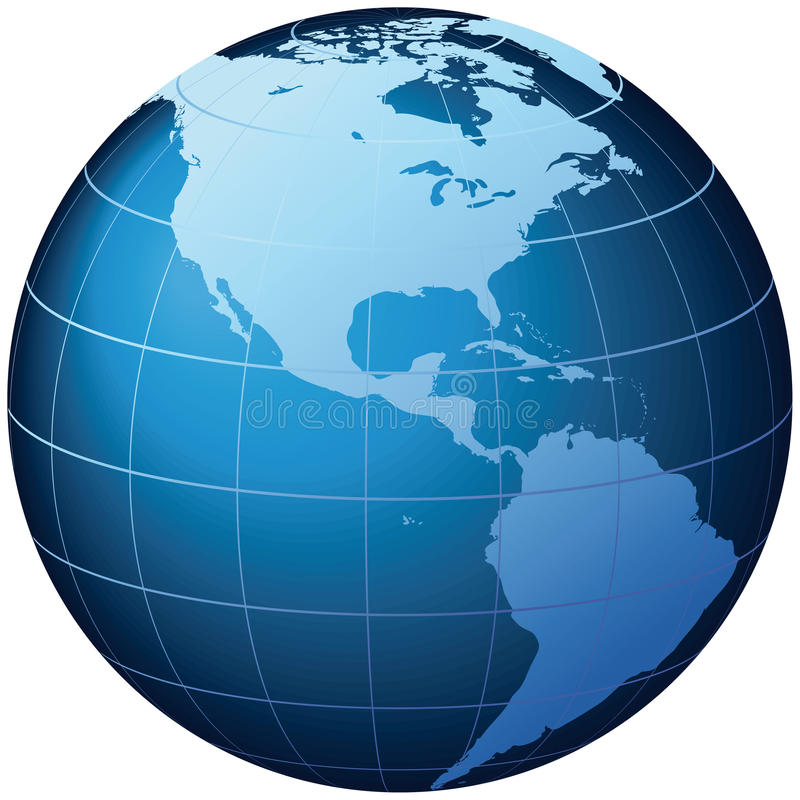 Globe du monde - vue des Etats-Unis - vecteur illustration libre de droits