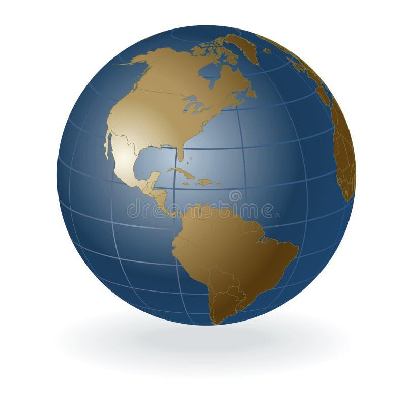 globe du vecteur 3D, Amérique illustration de vecteur