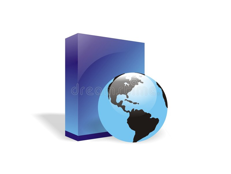 Globe and E-book box or software royalty free illustration