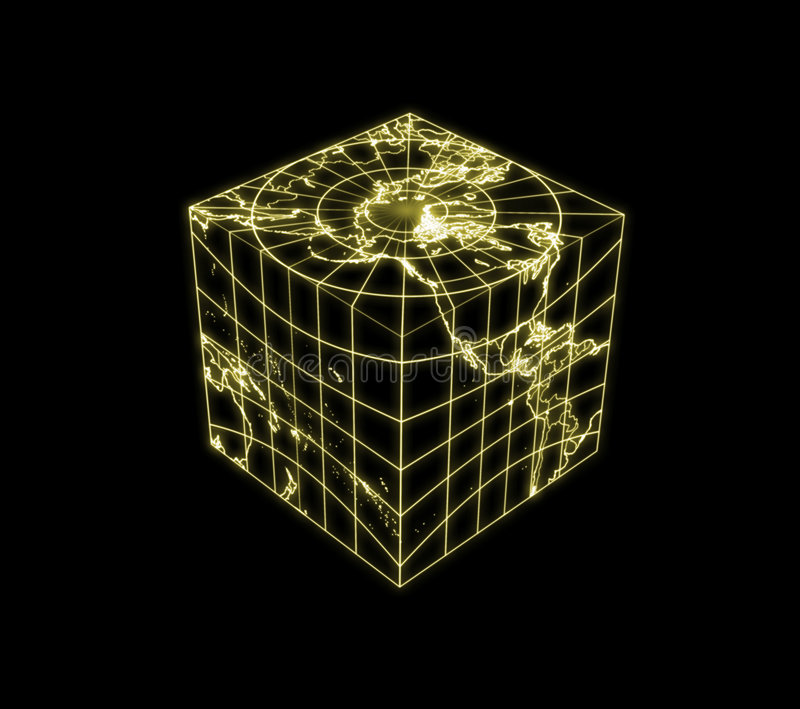 Globe Earth Cubic Light Map Outline Royalty Free Stock Photo