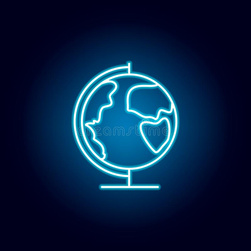 globe, earth, geography outline icon in neon style. elements of education illustration line icon. signs, symbols can be used for vector illustration