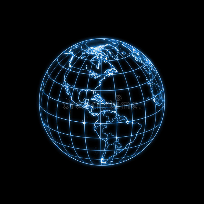Globe Earth Glowing Light Map Outline Stock Illustration Image - Earth map outline