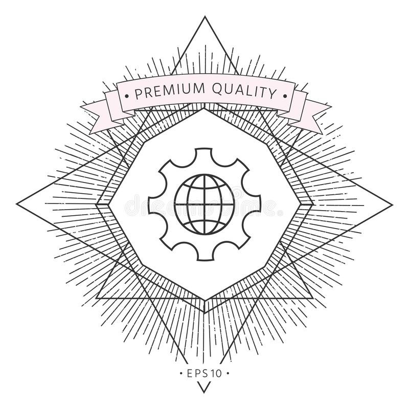 Globe of the Earth inside a gear or cog, setting parameters, Global Options - line icon royalty free illustration
