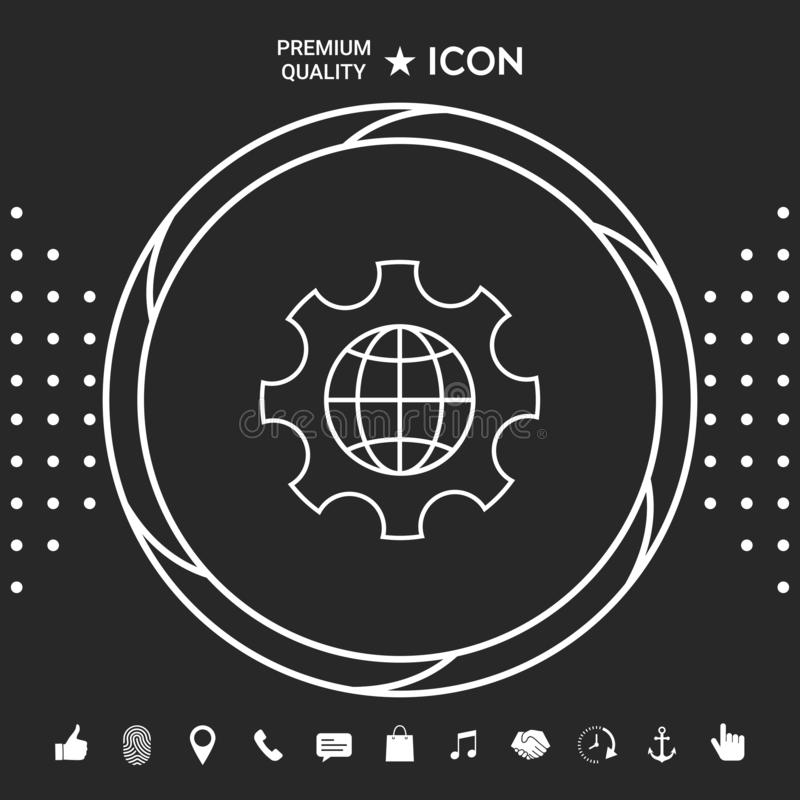 Globe of the Earth inside a gear or cog, setting parameters, Global Options - line icon . Graphic elements for your stock illustration