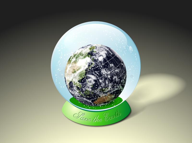 Globe earth inside water glass ball stock photos