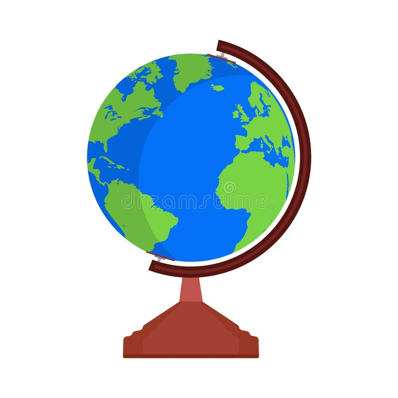 Globe Earth map world vector icon sign. Global travel planet sphere shape. Flat education symbol atlas simple vector illustration