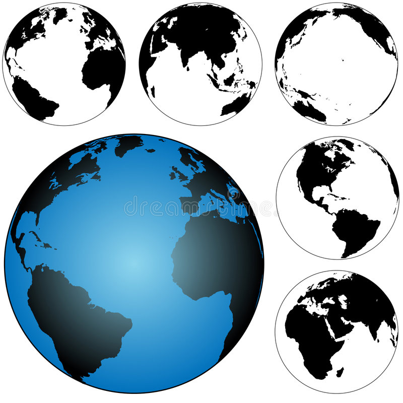 Download Globe Earth Maps Set stock vector. Image of pacific, background - 3028138