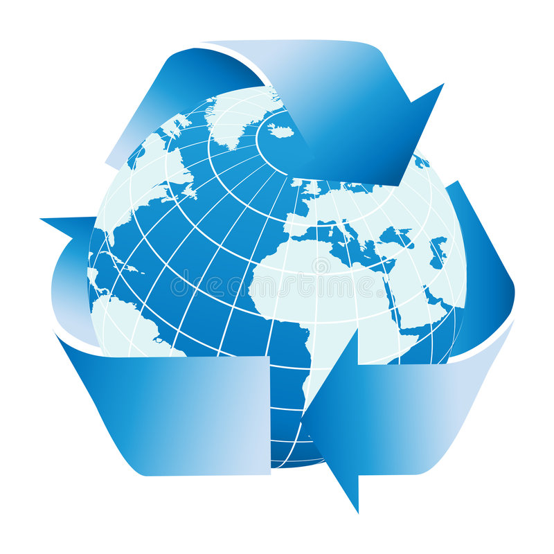 Globe of the Earth with recycle symbol vector illustration