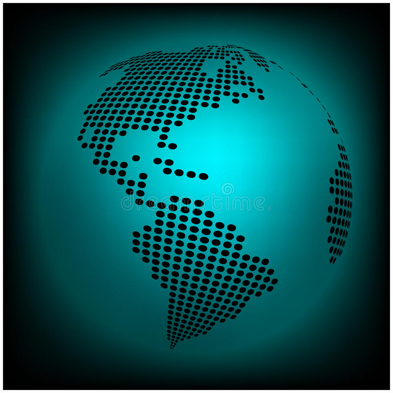 Globe earth world map - abstract dotted vector background. Blue wallpaper illustration royalty free illustration