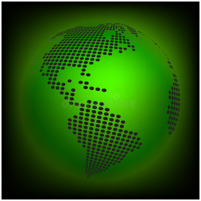Globe earth world map - abstract dotted vector background. Green wallpaper illustration vector illustration