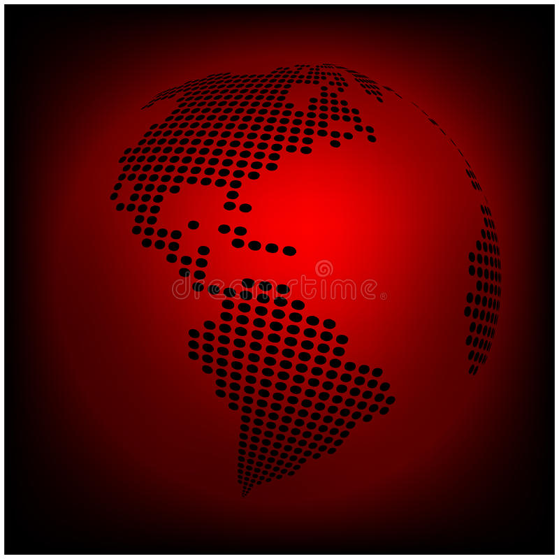 Globe earth world map - abstract dotted vector background. Red wallpaper illustration royalty free illustration