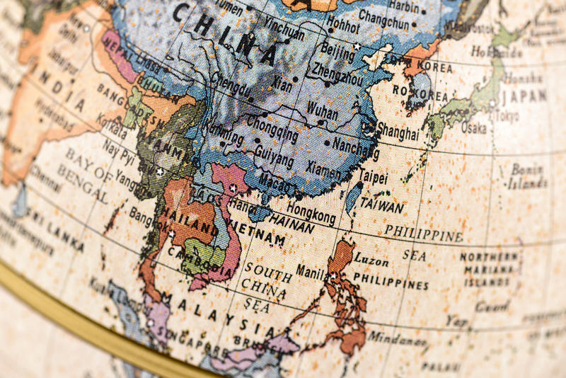 Globe East and Southeast Asia. Close-up of East and Southeast Asia in the colorful world map royalty free stock images