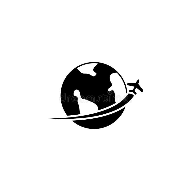 The Globe ed icona di viaggio dell'aereo Simbolo di trasporto Illustrazione piana di vettore illustrazione di stock