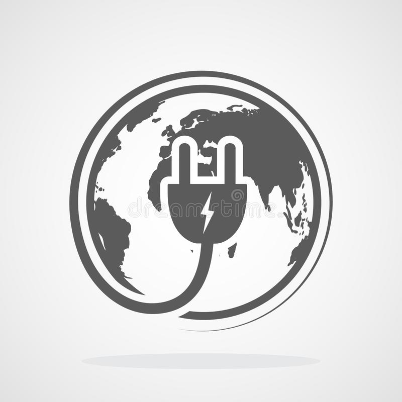 Globe And Electrical Plug Icon. Vector Illustration. Stock ...