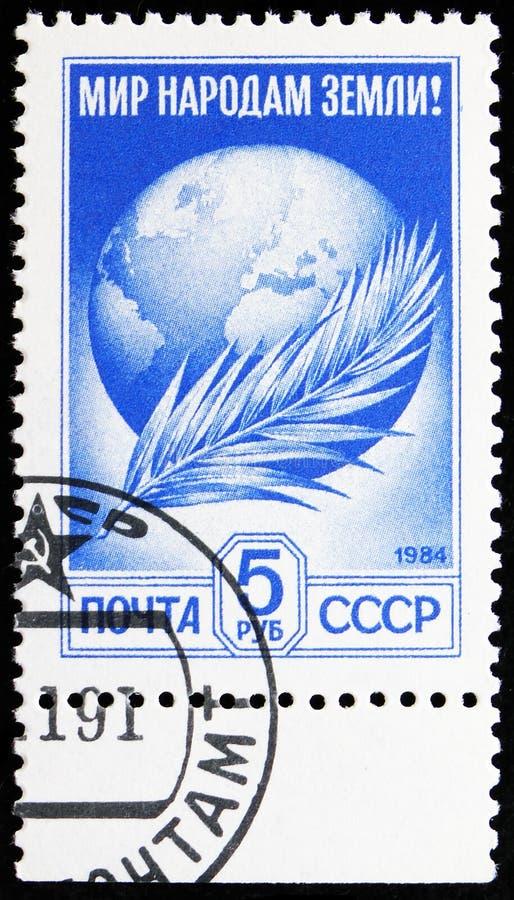 Globe en Palm Frond, serie, Definitief nummer 12 circa 1991 stock afbeelding