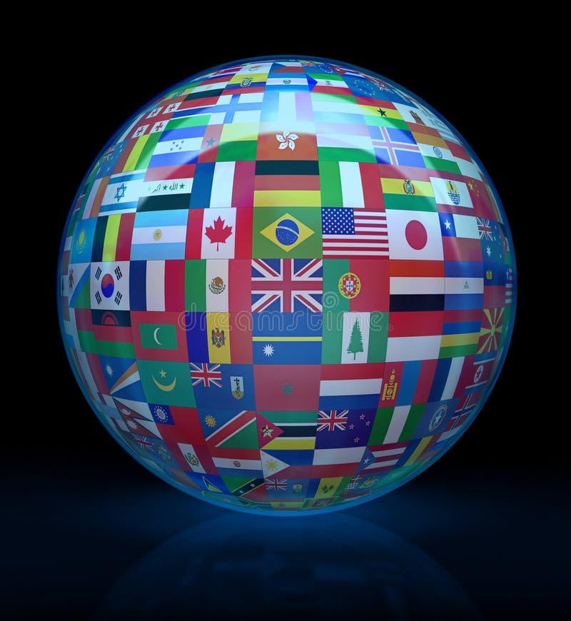 Globe en verre avec des indicateurs autour illustration libre de droits