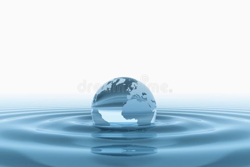 Globe en verre de la terre dans l'eau illustration libre de droits