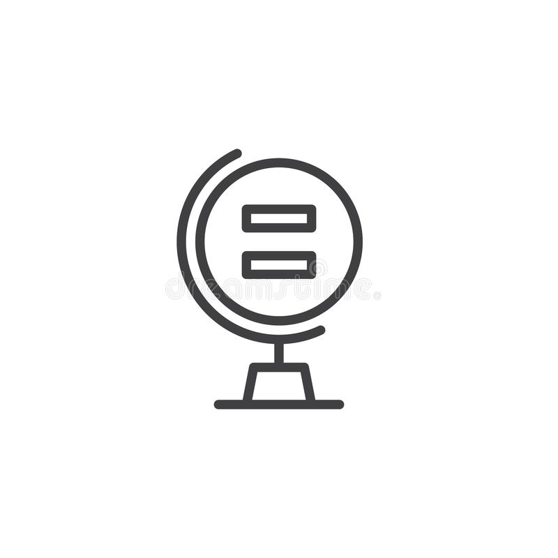 Globe with Equality sign outline icon stock illustration