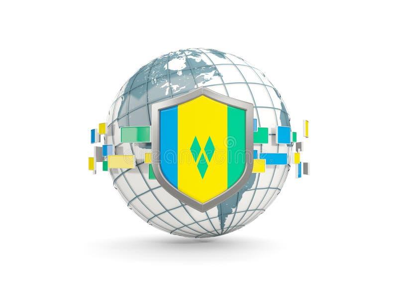 Globe et bouclier avec le drapeau du Saint-Vincent-et-les Grenadines i illustration libre de droits
