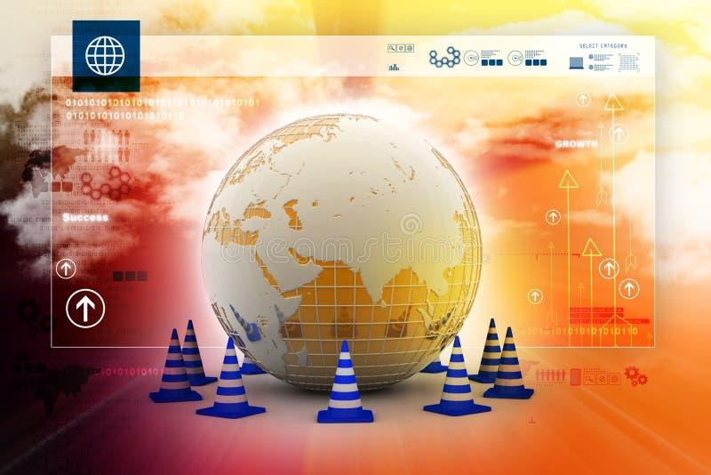 Globe et cône du trafic illustration libre de droits