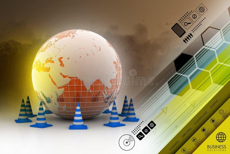 Globe et cône du trafic illustration stock