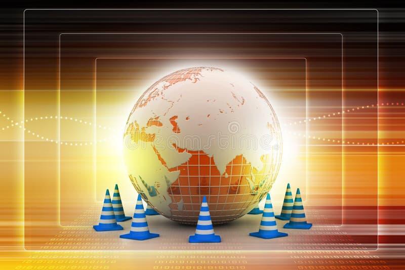 Globe et cône du trafic illustration de vecteur