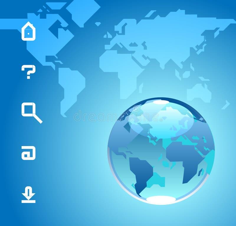 Globe et graphismes sur le fond bleu de la carte du monde illustration stock