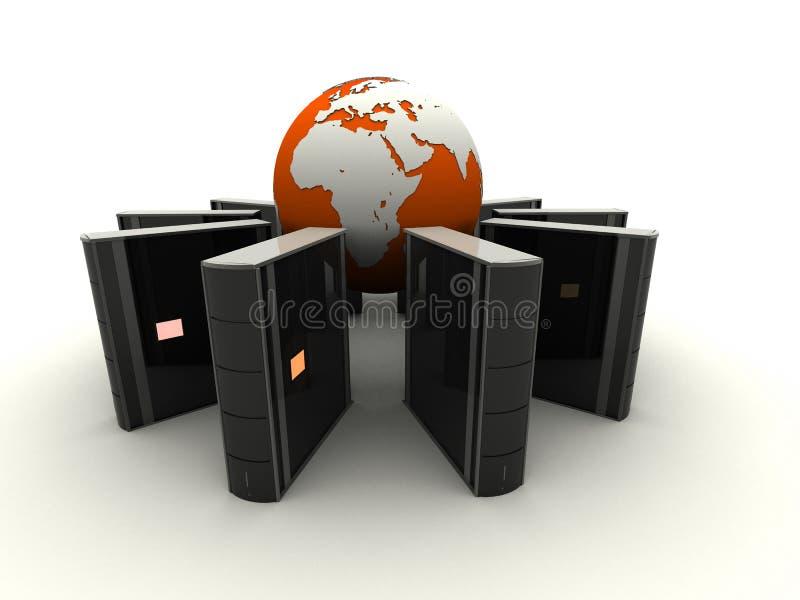 Globe et serveurs illustration de vecteur