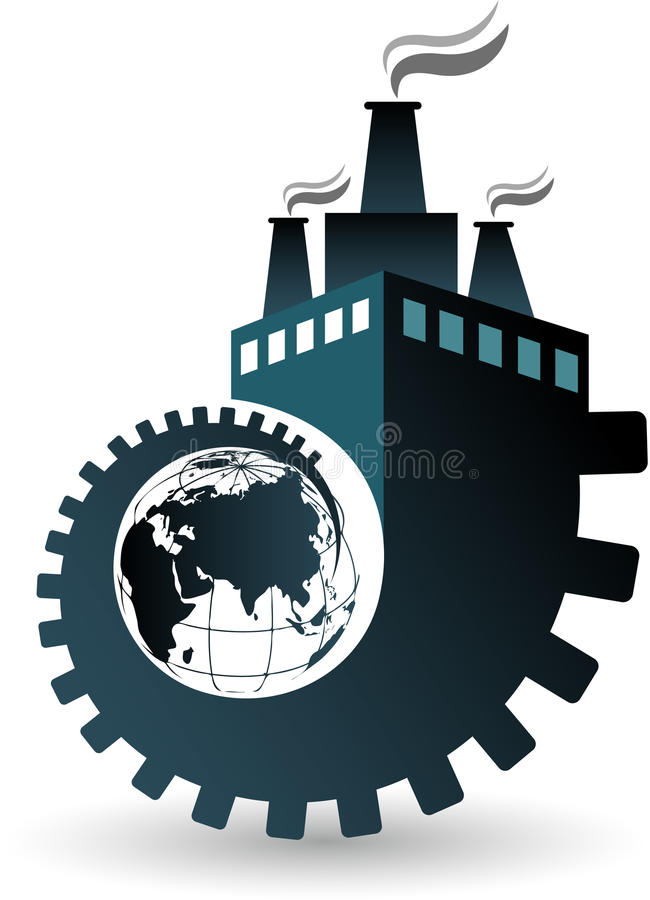 Globe factory logo vector illustration