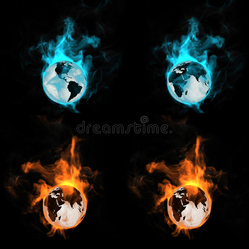 Globe In A Fire Royalty Free Stock Photography