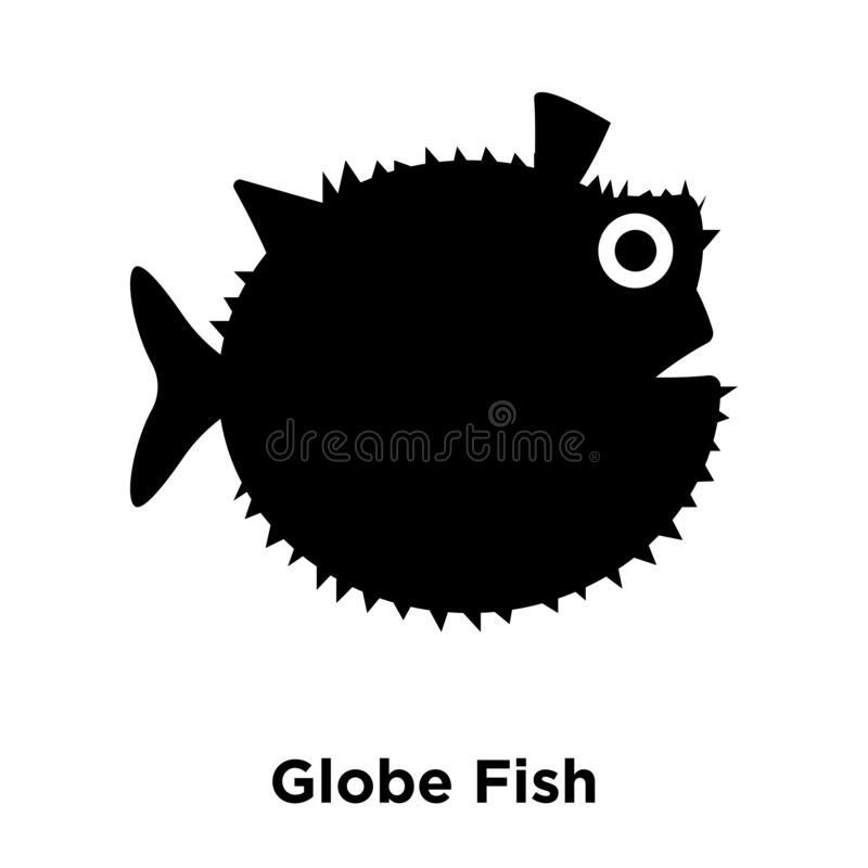 Globe Fish icon vector isolated on white background, logo concept of Globe Fish sign on transparent background, black filled stock illustration