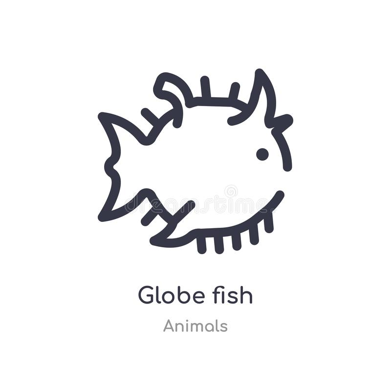 globe fish outline icon. isolated line vector illustration from animals collection. editable thin stroke globe fish icon on white stock illustration