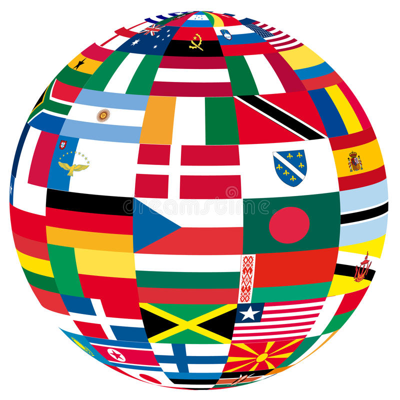 Globe with flags royalty free illustration