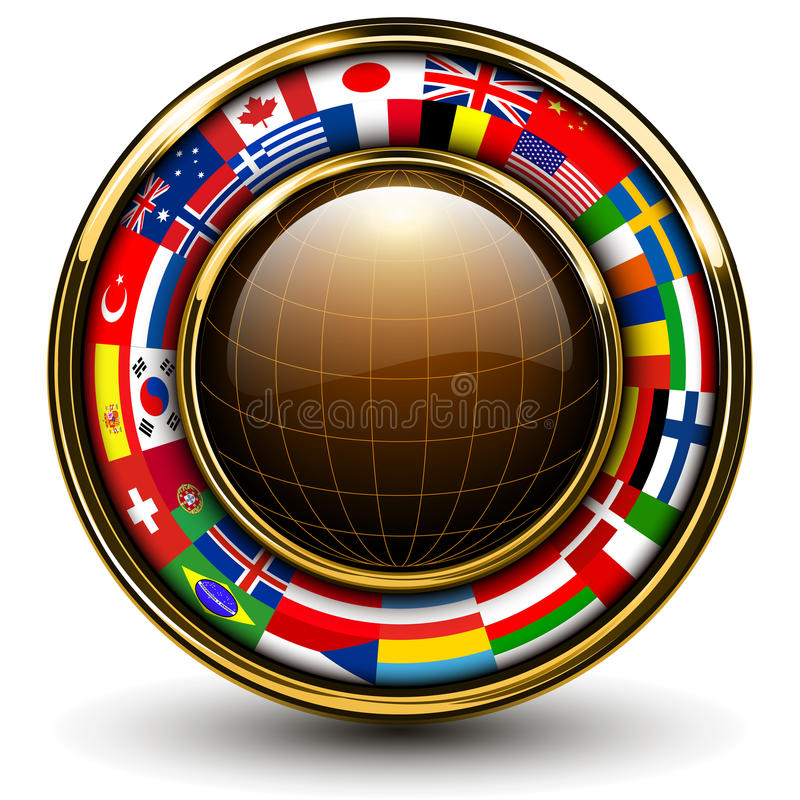 Globe with flags around vector illustration