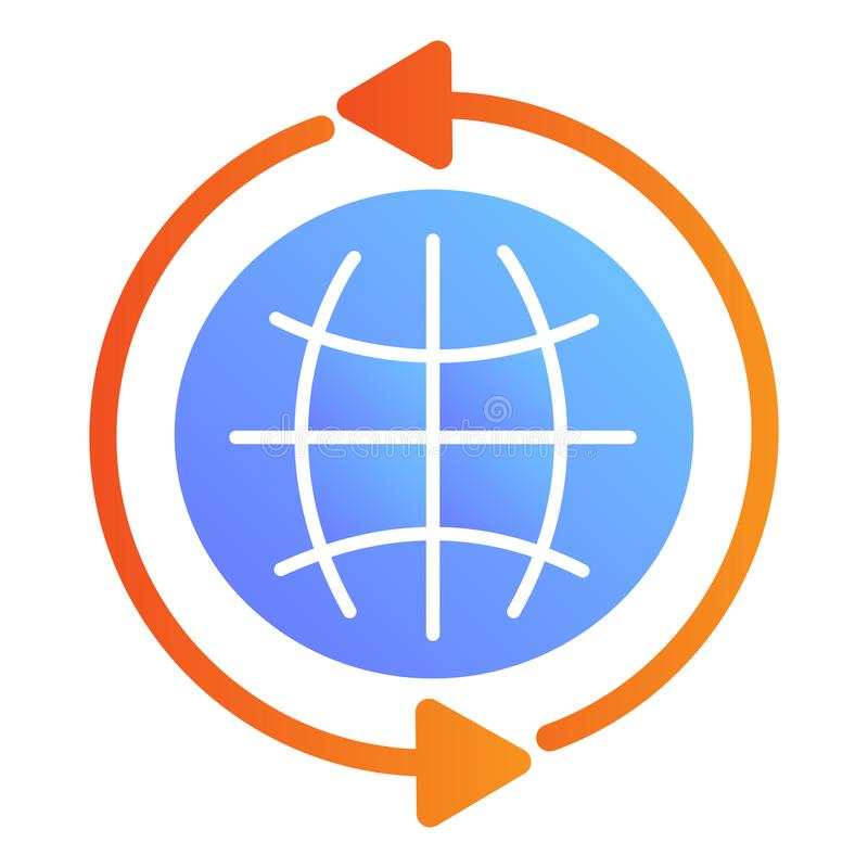 Globe flat icon. Internet color icons in trendy flat style. Go to web gradient style design, designed for web and app stock illustration