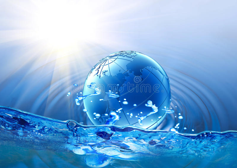 Globe floating on water. Model of globe floating on water royalty free stock photography