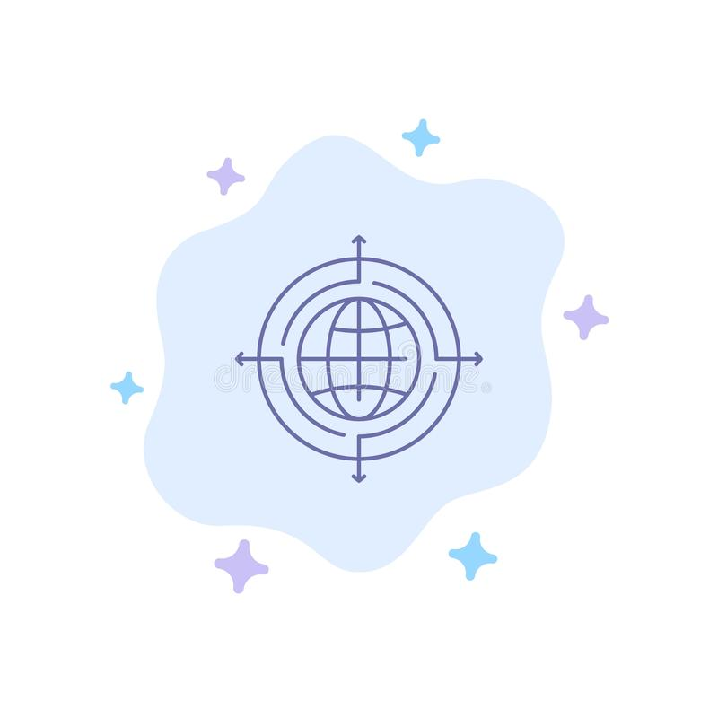 Globe, Focus, Target, Connected Blue Icon on Abstract Cloud Background vector illustration