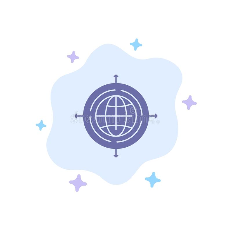 Globe, Focus, Target, Connected Blue Icon on Abstract Cloud Background royalty free illustration
