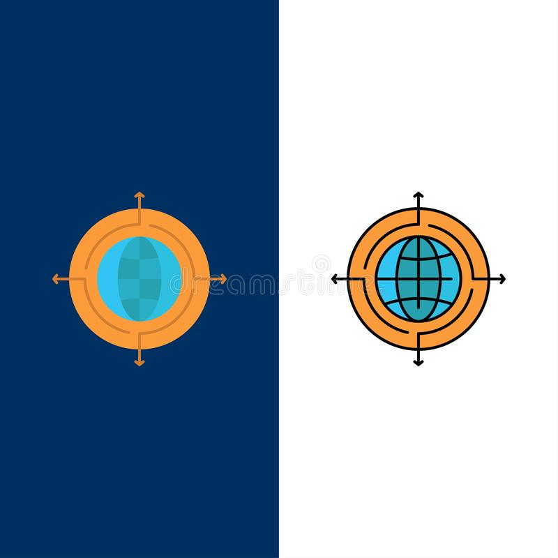 Globe, Focus, Target, Connected  Icons. Flat and Line Filled Icon Set Vector Blue Background vector illustration