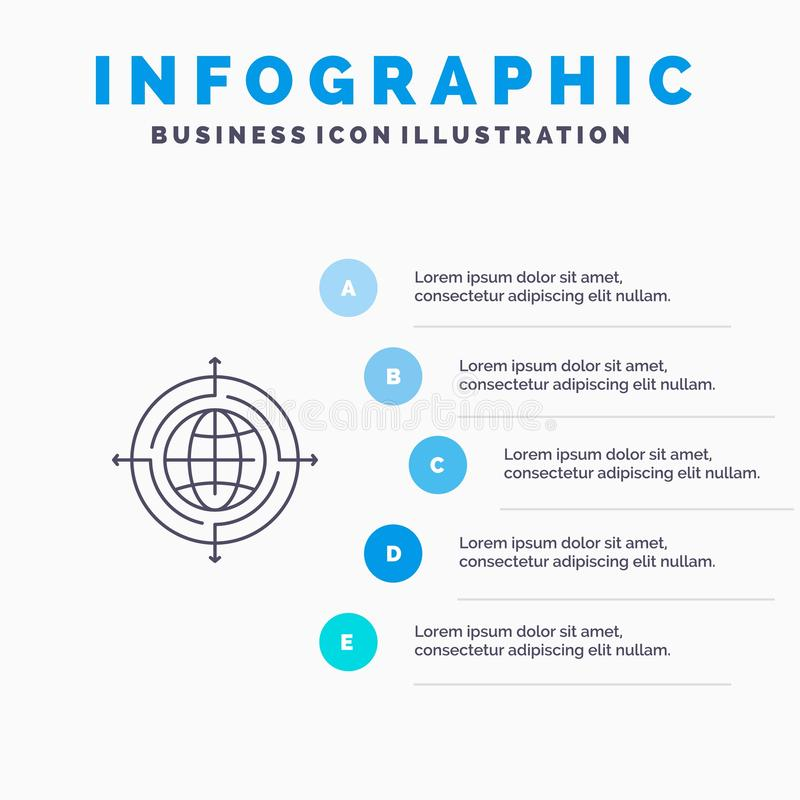 Globe, Focus, Target, Connected Line icon with 5 steps presentation infographics Background stock illustration