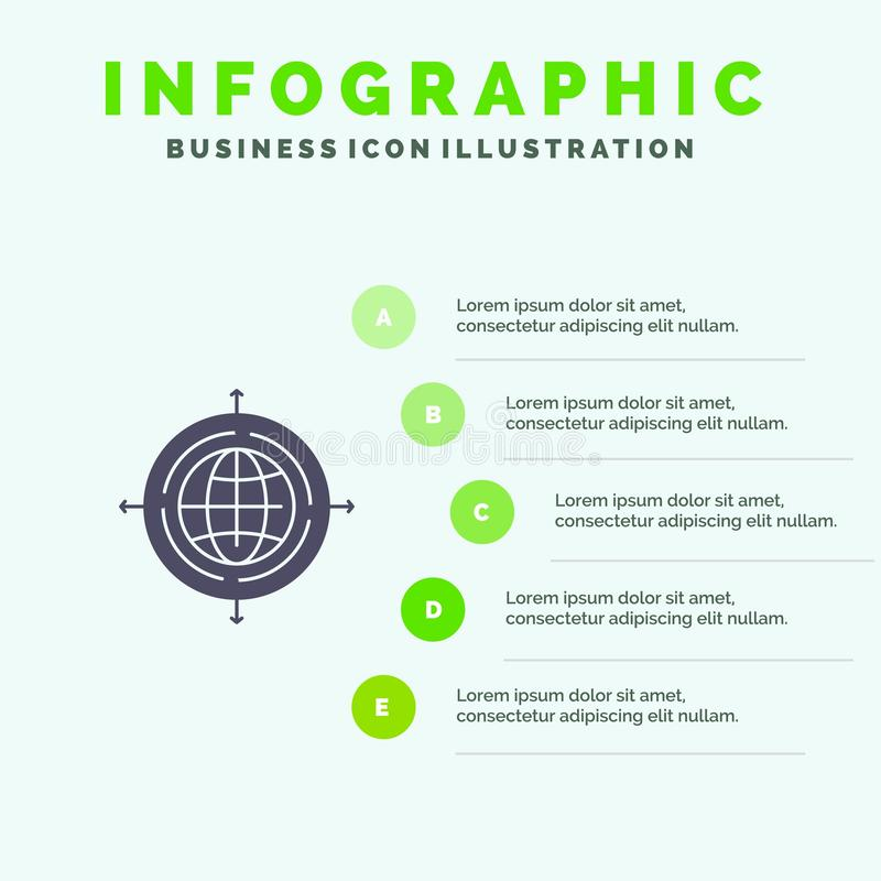 Globe, Focus, Target, Connected Solid Icon Infographics 5 Steps Presentation Background vector illustration