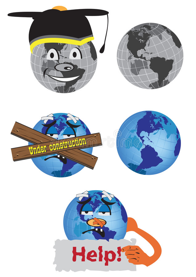 Globe fun drawings. Fun Vector illustration of black and white and colored globe stock illustration