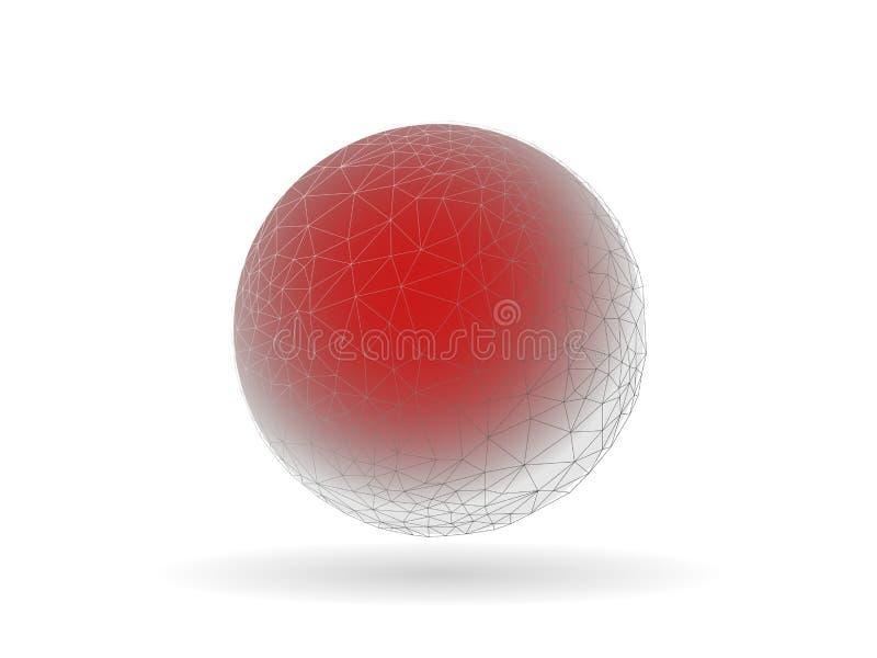 Globe géométrique avec le calibre peu commun central rouge de graphique de vecteur illustration stock
