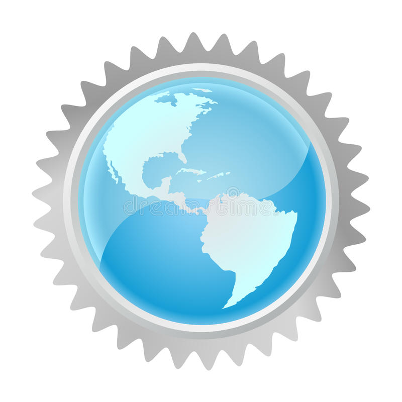 Download Globe in gear stock vector. Image of icon, objects, element - 18597224