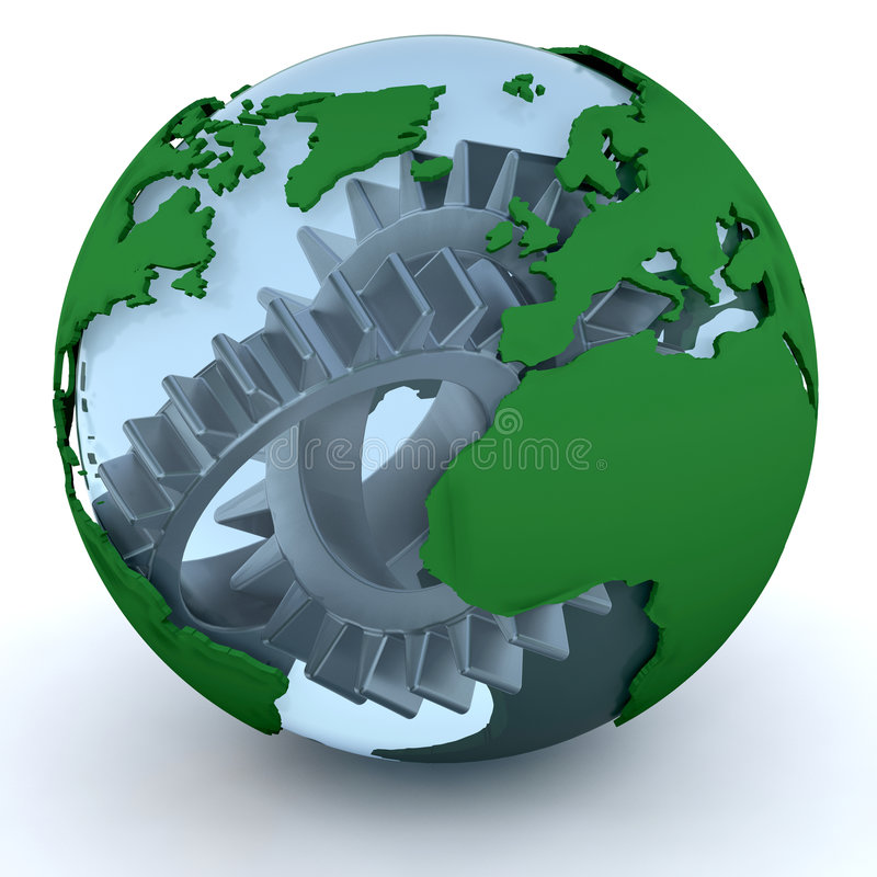 Globe with gears royalty free illustration