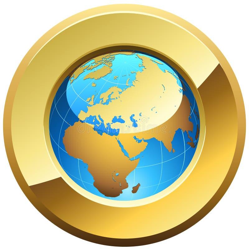 Globe golden button stock illustration