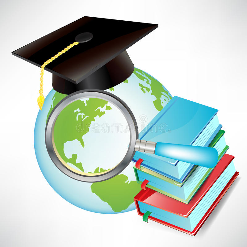 Globe with graduation cap and books stock illustration